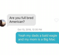 Memes, Eagle, and A Big Mac: Are you full bred  American?  Oct 13, 2016, 12:35 PM  Yeah my dads a bald eagle  and my mom is a Big Mac My dog is a twinkie