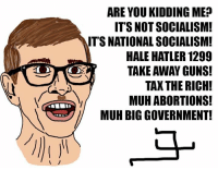 ARE YOU KIDDING ME?  ITS NOT SOCIALISM!  ITS NATIONAL SOCIALISM!  HALE HATLER 1299  TAKE AWAY GUNS!  TAX THE RICH!  MUH ABORTIONS!  MUH BIGGOVERNMENT! SAD