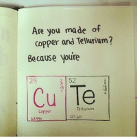 Memes, Best, and Science: Are you made of  copper and Tellurium?  Because youre  152  18  29  Cu Te  8  Tellurium  Copper  27 60  63546 👩🔬SCIENCE PICK-UP LINE CHALLENGE👨🔬 . What's your best @science pick-up line? Share in the comments and then tag someone you like to do the same!🔥 fridayfunnies pickuplines science