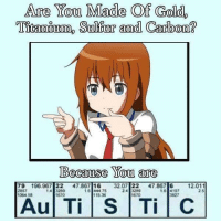 "<p>I just need to contemplate via /r/dank_meme <a href=""http://ift.tt/2G090D0"">http://ift.tt/2G090D0</a></p>: Are You Made Of Gold,  Titanium, Sulfur and Carbo  n?  Because You are  79 196.967 22 47.867 1632.07 22 47.867 6 12.011  2857  064 58  16 444 75  15.36  24 3289  670  2 5  670  827 <p>I just need to contemplate via /r/dank_meme <a href=""http://ift.tt/2G090D0"">http://ift.tt/2G090D0</a></p>"