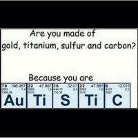 Yeah, Gold, and Titanium: Are you made of  gold, titanium, sulfur and carbon?  Because you are  79 196.967 22 47.867 1632.07 22 47.867 61  857  1064 58  14 3289  670  16 444 75  115.36  197  827  12.011  2 5  670  Au Ti S TiC <p>Yeah, I am actually</p>