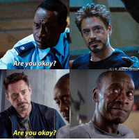 "Memes, Black, and Black Panther: Are you okay?  IGI W BLACK PANTHER  Are you okay? Okay so this is edited, the original caption was ""this > stucky"" but people were starting to think I ship Tony and Rhodey or Steve and Bucky, idek why. Well I do not."