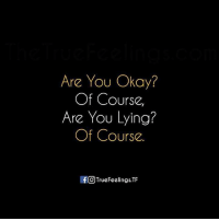 You Okay: Are You Okay?  Of Course,  Are You Lying?  Of Course.  If O TrueFeelings,TF