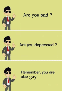 Remember Who You Are: Are you sad?  Are you depressed?  Remember, you are  also gay