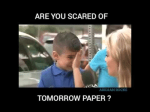 Funny exam meme video - YouTube: ARE YOU SCARED OF  ARDIAN ROCKS  TOMORROW PAPER? Funny exam meme video - YouTube