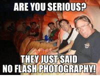 ARE YOU SERIOUS?  THEV JUST SAID  NO FLASH PHOTOGRAPHY So true.  It's like as soon as they announce no flash photography someone takes a picture using the flash.