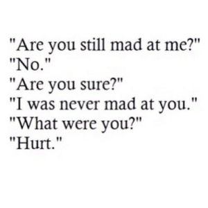"Mad, Never, and Net: ""Are you still mad at me?""  ""No.""  ""Are you sure?""  ""I was never mad at you.""  ""What were you?""  ""Hurt."" https://iglovequotes.net/"