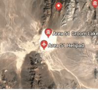 Area 51, Ufo, and You: Area 51 Groom  Lake  Area 51 Helipad When you hover the streetview guy above area 51 it turns into a UFO.