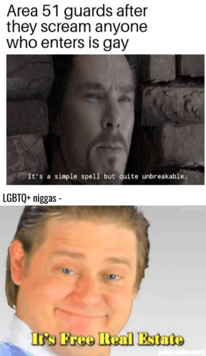 Reddit, Scream, and Free: Area 51 guards after  they scream anyone  who enters is gay  It's a simple spell but quite unbreakable.  LGBTQ+ niggas  u/tanvertel  It's Free Real Estate Keep those guys in frontline.