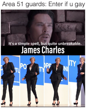 Quite, Dank Memes, and Simple: Area 51 guards: Enter if u gay  It's a simple spell, but quite unbreakable.  James Charles  ITY  OPF  TY  PO  TU  onsenvatives C'mon James