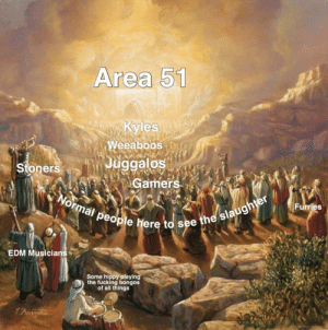 Fucking, Edm, and Area 51: Area 51  Kyles  Weeaboos  Juggalos  Gamers  Stoners  Normal people here to see the slaughter  Furries  EDM Musicians  Some hippy playing  the fucking bongos  of all things