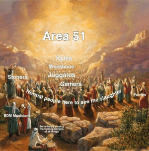 Fucking, Funny, and Edm: Area 51  toKyles  Weeaboos  Juggalos  Gamers  Stoners  Normal people here to see the slaughter  Furries  EDM Musicians  Some hippy playing  the fucking bongos  of all things Form ranks