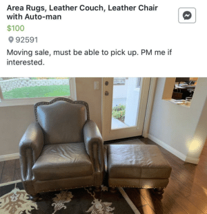 """I'm glad the """"auto-man"""" is included: Area Rugs, Leather Couch, Leather Chair  with Auto-man  $100  92591  Moving sale, must be able to pick up. PM me if  interested. I'm glad the """"auto-man"""" is included"""