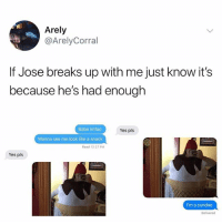 Girl Memes, Yes, and Pls: Arely  @ArelyCorral  If Jose breaks up with me just know it's  because he's had enough  Babe Imfao  Yes pls  Wanna see me look like a snack  Read 12:27 PM  Yes pls  I'm a sundae  Delivered hehe