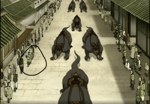 Aren't the people I circled the kid that Iroh helped in Tales of Ba Sing Se? It sure looks like the kid if you look closely. This is S3 E1: Aren't the people I circled the kid that Iroh helped in Tales of Ba Sing Se? It sure looks like the kid if you look closely. This is S3 E1