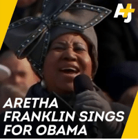 Memes, Obama, and Sang: ARETHA  FRANKLIN SINGS  FOR OBAMA The moment when Aretha Franklin sang for Barack Obama on his inauguration day.