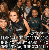 Tag Friends! 💃🏻🍷 + Fact: Filming will begin for episode one of grey's anatomy season 14 this coming monday, on the 31st of July! 💃🏻🍷 + - greysanatomy greys greysfacts greysabc season14: @areusfactts  FILMING WIDL BEGIN FOR EPISODE ONE  OF GREY SANATOMY SEASON 4 THS  COMING MONDAY, ON THE 31ST OF JULY Tag Friends! 💃🏻🍷 + Fact: Filming will begin for episode one of grey's anatomy season 14 this coming monday, on the 31st of July! 💃🏻🍷 + - greysanatomy greys greysfacts greysabc season14