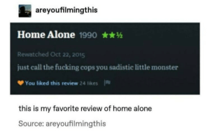.: areyoufilmingthis  Home Alone 1990  Rewatched Oct 22, 2015  just call the fucking cops you sadistic little monster  You liked this review 24 likes  this is my favorite review of home alone  Source: areyoufilmingthis .