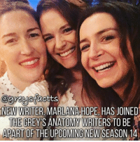 Friends, Memes, and Grey's Anatomy: @areysfaotts  NEW WRITER, MARLANA HOPE HAS JOINED  THE GREY'S ANATOMY WRITERS TO BE  APART OF THE UPCOMING NEW SEASON 14 Tag Friends! Welcome! @marlanahope 💃🏻🍷 + Fact: New writer, Marlana Hope, has joined the grey's anatomy writers to be apart of the upcoming new season 14! 💃🏻🍷 @marlanahope + - greysanatomy greys greysabc greysfacts season14