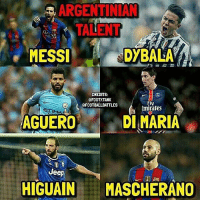 Memes, Emirates, and Jeep: ARGENTINIAN  TALENT  MESSI  DYBALA  CREDITS:  QFOOTYTANK  Fly  t CFOOTBALLBATTLES  Emirates  AGUERO  DI MARIA  Jeep  HIGUAIN  MASCHERANO Double tap your favourite Argentinian Player ⚡️