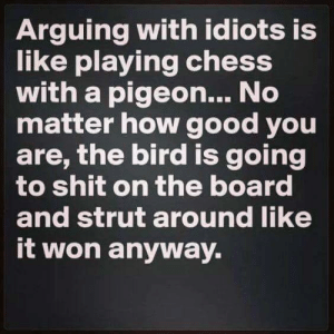 "Image result for ""Arguing with an idiot is like playing chess with a pidgeon. It'll just knock over all the pieces, shit on the board, and strut about like it's won anyway."" -"