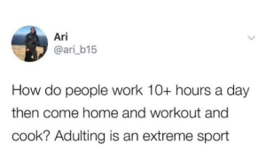 Dank, Memes, and Target: Ari  @ari_b15  How do people work 10+ hours a day  then come home and workout and  cook? Adulting is an extreme sport And I'm not an athlete by PharmSystem MORE MEMES