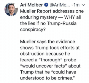 """Trump Russia: Ari Melber@AriMe... 1m v  Mueller Report addresses one  enduring mystery - WHY all  the lies if no Trump-Russia  conspiracy?  Mueller says the evidence  shows Trump took efforts at  obstruction because he  feared a """"thorough"""" probe  """"would uncover facts"""" about  Trump that he """"could have  understood to be crimes."""""""