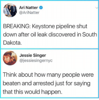 Drinking, Memes, and Water: Ari Natter  @AriNatter  BREAKING: Keystone pipeline shut  down after oil leak discovered in South  Dakota.  Jessie Singer  @jessiesingernyc  Think about how many people were  beaten and arrested just for saying  that this would happen. Then: you still protesting that pipeline? Me: you still drinking that water? . . WaterIsLife MniWiconi