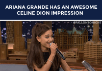 "Ariana Grande, Target, and youtube.com: ARIANA GRANDE HAS AN AWESOME  CELINE DION IMPRESSION   _ . #FALLONTO NIGHT  ti <p><a href=""https://www.youtube.com/watch?v=05dKQsVOZXY&amp;list=UU8-Th83bH_thdKZDJCrn88g&amp;index=1"" target=""_blank"">Ariana Grande sings &ldquo;Beauty and the Beast&rdquo; as Celine Dion!</a></p><p>[ <a href=""http://www.nbc.com/the-tonight-show/segments/115806"" target=""_blank"">Part 2</a> / <a href=""http://www.nbc.com/the-tonight-show/segments/115811"" target=""_blank"">Part 3</a> ]</p>"