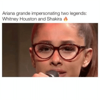 Ariana grande impersonating two legends:  Whitney Houston and Shakira A Did she nail it ? 😍🔥 Tag your friends ________ Follow @Crelube for more videos Follow @Crelube 😍 Follow @Crelube ❤ Follow @Crelube 👌🏽 Follow @Crelube 🔥