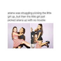 This will never not be funny: ariana was struggling picking the little  girl up, but then the little girl just  picked ariana up with no trouble This will never not be funny