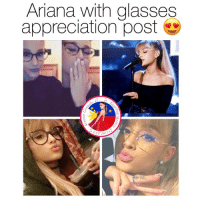 Ariana Grande, Blessed, and Facebook: Ariana with glasses  appreciation post  ST 2 Share this to bless other people's timeline   Get Free Ariana Grande Lockscreens here ❤️: https://m.facebook.com/AGBLockscreens?ref=bookmarks  —ag༄