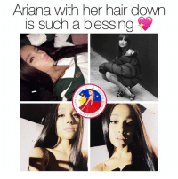 Ariana Grande, m.facebook, and m.facebook.com: Ariana with her hair down  is such a blessing  ST 2013 Yas queen 💕  Get Free Ariana Grande Lockscreens here ❤️: https://m.facebook.com/AGBLockscreens?ref=bookmarks  —ag༄