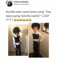 """Lmaooo why they make her pose like that: Arianna Models  @AriannaModels  My little sister came home crying """" they  keep saying I look like cardi B"""" ILOST Lmaooo why they make her pose like that"""