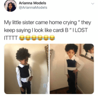 """Arianna: Arianna Models  @AriannaModels  My little sister came home crying """" they  keep saying I look like card. B """" I LOST  ITTTT 부부부부"""