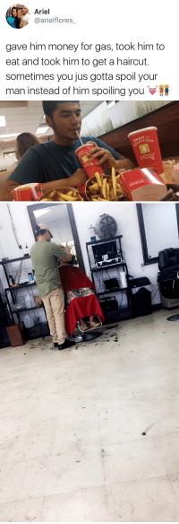"""this is what a real relationship is. When it's two sided and both people contribute to the relationship https://t.co/zWCr37V3V4: Ariel  @ariel flores  gave him money for gas, took him to  eat and took him to get a haircut.  sometimes you jus gotta spoil your  man instead of him spoiling you   PTIO  WENDY  GIVES  SNAP  and WENDY'S  RECIPE  OUR  乀."""" this is what a real relationship is. When it's two sided and both people contribute to the relationship https://t.co/zWCr37V3V4"""