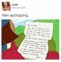 This is u @jewhead: Ariel  @arigold 88  Men apologizing.  Dear Sue Elk  In sorry I eset  Yov I dnt  meON It was cealy Just  joke. I  take a Joke you could  Iguess was  Ive been teased before about  I ear ng glasses but never felt  had to tell the teacher about  and  get someone else maybe you re Just over-  reachin?  I dont understand why youre  so vpset I thought a small thing  we were frends.  Athur. This is u @jewhead