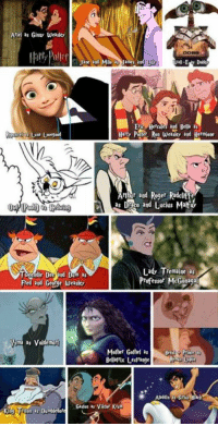 If Disney characters were in Harry Potter. - Alternative Disney: Ariel as Ginay Weasley  Paler  Jane and Milo Jame and  Eric and Bella as  Harty ller, Ron weaso and Hermione  as Draco and Lucius MaMa  Lady Tremaine as  Professor McGoaga  Fred 20d eorge Weasley  sma as Voldemo  Mother Gorbel as Bra  Bellatrix Lestatge  Garlan as Viktor Kra If Disney characters were in Harry Potter. - Alternative Disney