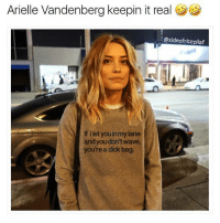 Memes, Dick, and Arielle Vandenberg: Arielle Vandenberg keepin it real  sideofricepilaf  If let youinmylane  and you don't wave,  you rea dick bag. 😂😂😂 you had one JOB (@sideofricepilaf)