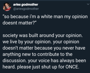 "I can't be the only one that thinks this is kinda rude to say by MoistDaddyD MORE MEMES: aries godmother  @ariesgodmother  ""so because i'm a white man my opinion  doesnt matter?""  society was built around your opinion.  we live by your opinion. your opinion  doesn't matter because you never have  anything new to contribute to the  discussion. your voice has always been  heard. please just shut up for ONCE. I can't be the only one that thinks this is kinda rude to say by MoistDaddyD MORE MEMES"