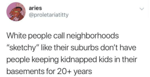 "Dank, Memes, and Target: aries  @proletariatitty  White people call neighborhoods  ""sketchy"" like their suburbs don't have  people keeping kidnapped kids in their  basements for 20+ years Not in my neighbourhood, you said by O-shi MORE MEMES"