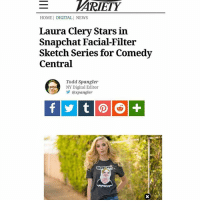 Go check it out y'all 😛😛😛 on snap today: ARIETY  HOMEI DIGITAL I NEWS  Laura Clery Stars in  Snapchat Facial-Filter  Sketch Series for Comedy  Central  Todd Spangler  NY Digital Editor  ゾ@xpangler  stee Go check it out y'all 😛😛😛 on snap today