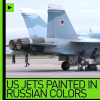 Aggressor squadron? Pics of US jets painted in Russian colors spark Syria false flag conspiracy READ MORE: http://on.rt.com/7rkh: ARINES  US JETS PAINTED IN  RUSSIAN COLORS Aggressor squadron? Pics of US jets painted in Russian colors spark Syria false flag conspiracy READ MORE: http://on.rt.com/7rkh