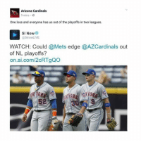 Arizona Cardinals, Mlb, and Arizona: Arizona Cardinals  9 mins  One loss and everyone has us out of the playoffs in two leagues.  SI Now  @SlnowLIVE.  WATCH: Could @Mets edge @AZCardinals out  of NL playoffs?  on si.com/2cRTgQO  52  30 9 At least you tried