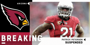Cardinals CB Patrick Peterson will be suspended for the first 6 games of the 2019 season for violating the NFL's performance-enhancing drug policy. (via @RapSheet) https://t.co/1EE0RGkYiB: ARIZONA  CARDINALS  BREAKINC  PATRICK PETERSON  SUSPENDED Cardinals CB Patrick Peterson will be suspended for the first 6 games of the 2019 season for violating the NFL's performance-enhancing drug policy. (via @RapSheet) https://t.co/1EE0RGkYiB