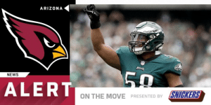 Memes, News, and Arizona: ARIZONA  NEWS  ALERT  ON THE MOVE PRESENTED BY SNICKERS LB @JordanHicks is expected to sign a four-year, $36 million deal with the @AZCardinals. (by @SNICKERS)  (via @RapSheet) https://t.co/1Bnz40LpLl
