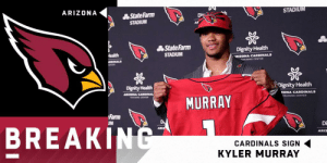Memes, Arizona, and Cardinals: ARIZONA  STADIU  轟StateFarm  STADIUM  轟StateFarm  STADIUM  Dignity Health  RIZONA CARDINALS  TRAINING CENTER  Dignity Health  Dignity Health  ZONA CARDINALS  MURRAY  TRAINING CENTER  Farm  BREAKINC  Di  ARIZ  CARDINALS SIGN  KYLER MURRAY .@AZCardinals sign #1 overall pick Kyler Murray to a four-year, $35.1M fully guaranteed deal, with a fifth-year option. @K1   (via @RapSheet) https://t.co/dtNXIYcTF2