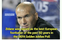 Memes, Best, and Goal: ARKHAM  Zidane was named as the best European  footballer of the past 50 years in  the UEFA Golden Jubilee Poll @footy.goal