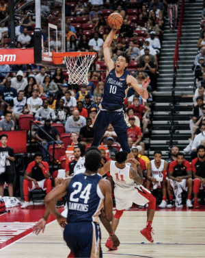 Athleticism. Viciousness. Grace. All captured in one photo. RIP for the guy who got posterized.: arm  PELICANS  10  ATHENA  MUL  24  TAWKINS Athleticism. Viciousness. Grace. All captured in one photo. RIP for the guy who got posterized.