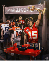 Another WIN for @PatrickMahomes5 & the @Chiefs! 6-1! 💪 #ChiefsKingdom https://t.co/U0LjPUAhpK: ARM WRESTLING COM  SORTLES  GAROPPOLO  KEENUM  THLISBEREER  RIVE  17  DALTON  1回 Another WIN for @PatrickMahomes5 & the @Chiefs! 6-1! 💪 #ChiefsKingdom https://t.co/U0LjPUAhpK